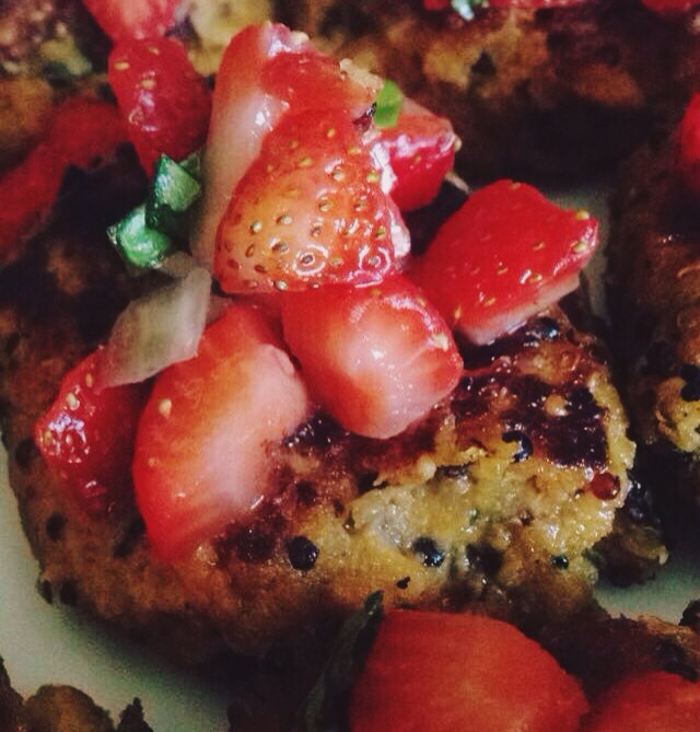 Sweet Potato Quinoa Cakes with Strawberry Basil Salsa