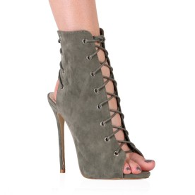 Melina Stiletto Ankle Boots In Khaki Faux Suede